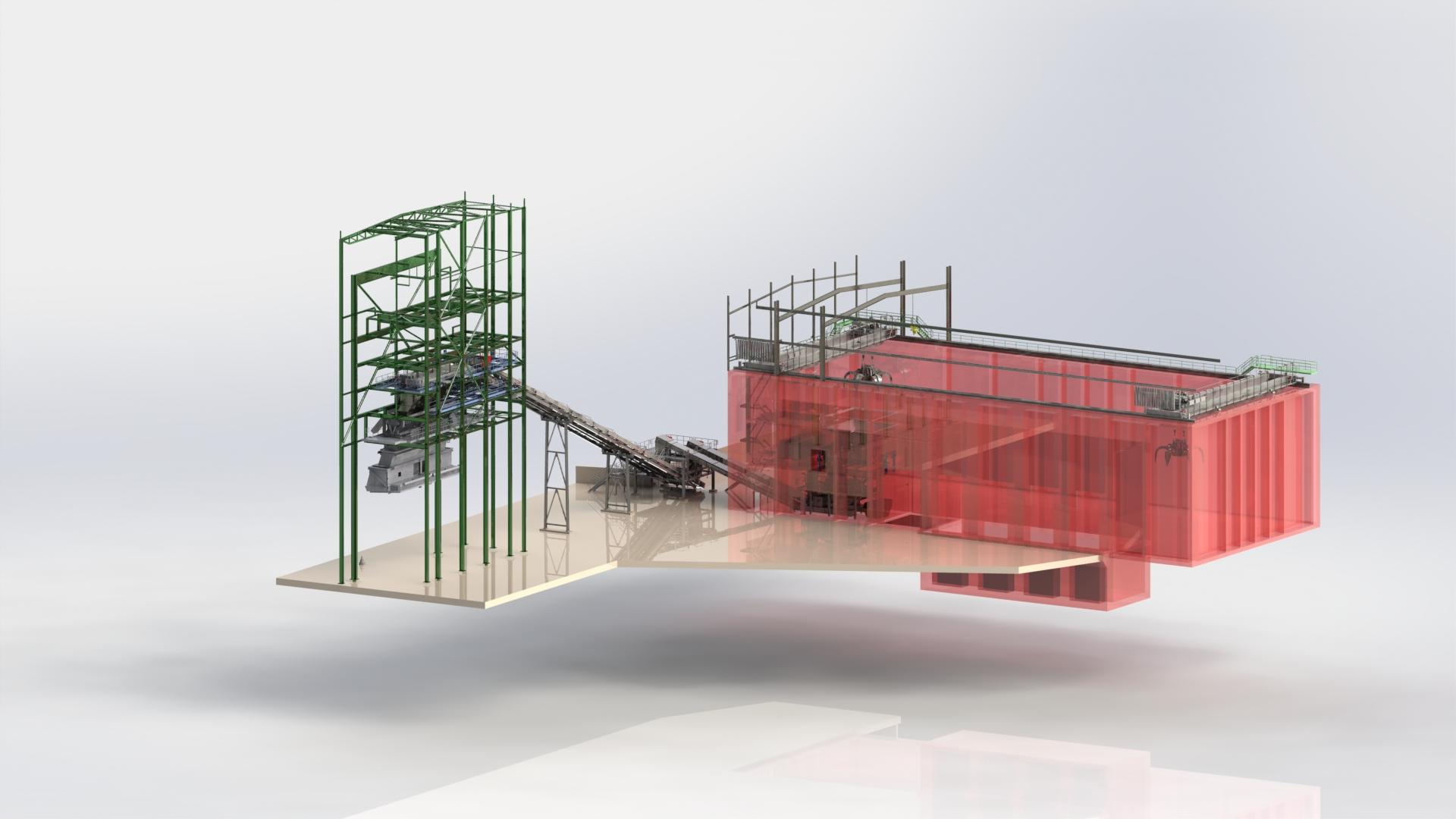 Margam, England; Biomasse-Förderanlage