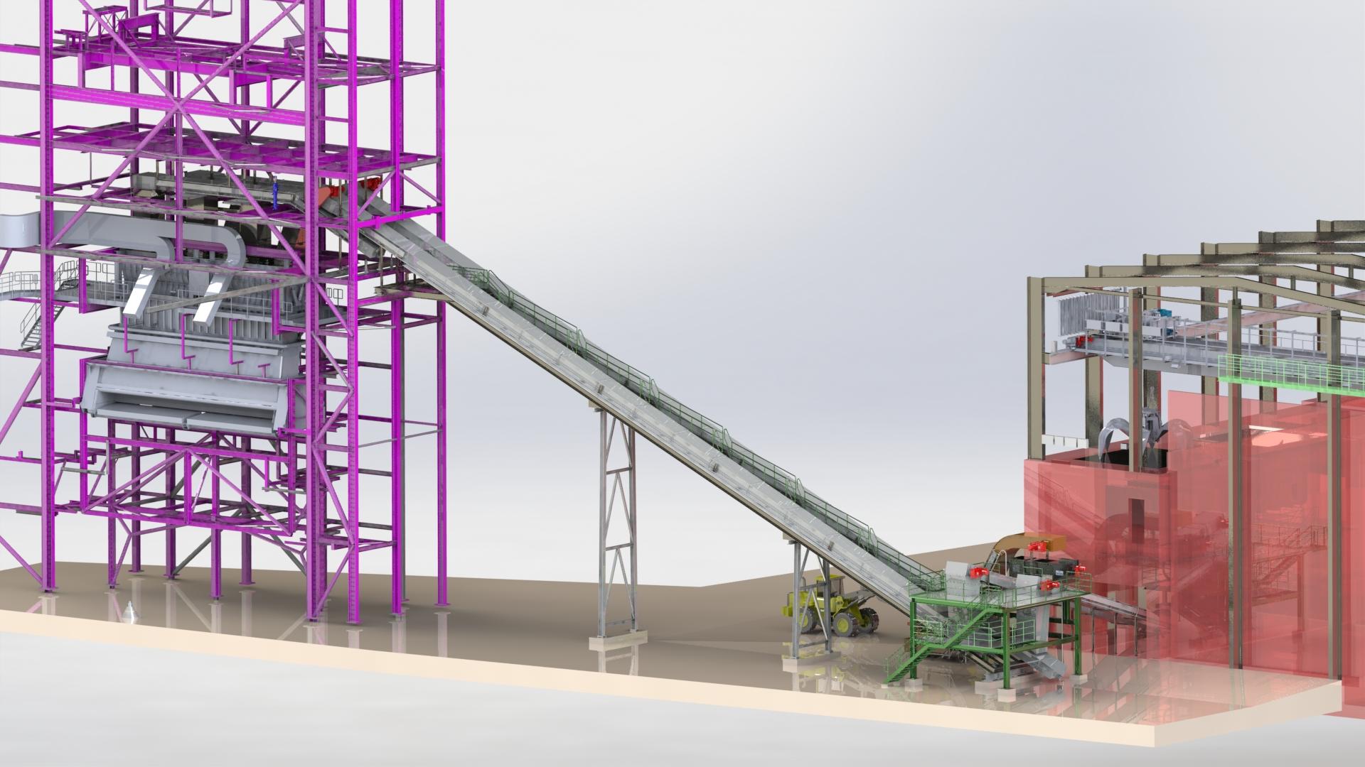 Teesside, England; Biomasse-Förderanlage
